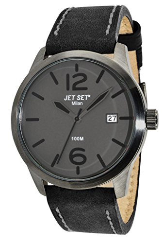 Jet Set-J6380B - 262-Milan Men's Quartz Analogue Watch-Grey Face-Black Leather Strap
