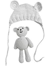 Vovotrade Conjunto Bebé Recién Nacido Fotografía Prop Foto Crochet Oso del  traje del traje + Sombrero bf4b3445a1b