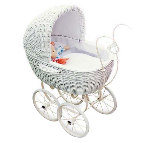 """Puppenwagen """"Korbgeflecht"""" im weißen, nostalgischen Design, Puppenzubehör für drinnen und draußen, auch als Dekoration geeignet, für kleine Puppenmütter ab 3 Jahren"""