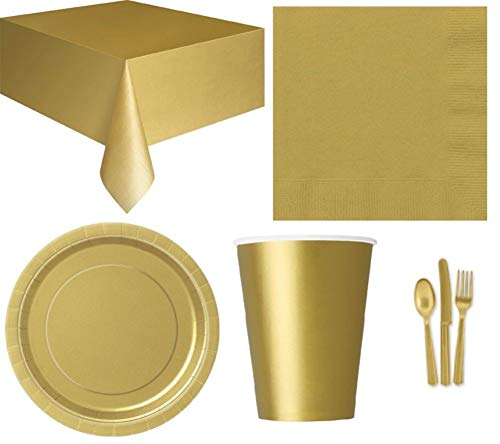 Mesa de Fiesta (Platos, servilletas, manteles, Bolsos, Globos), Color Plateado o Dorado, 10 Paper Party Bags, Dorado