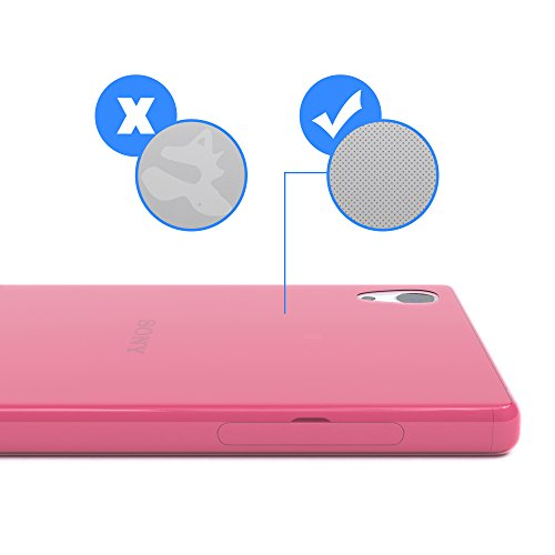 """EAZY CASE Handyhülle für Sony Xperia Z5 Hülle - Premium Handy Schutzhülle Slimcover """"Brushed"""" Aluminium Design - TPU Silikon Backcover in brushed Rosa Clear Pink"""