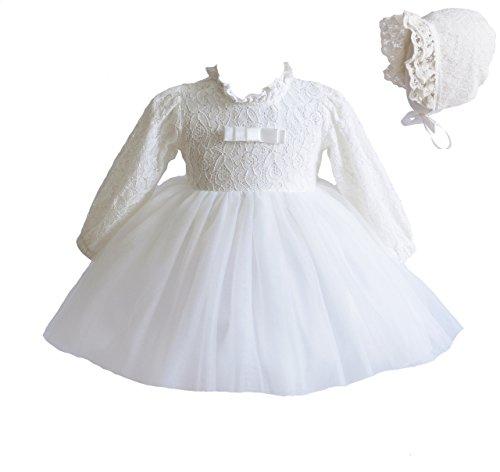 Cinda Baby-Lange Hülsen-Spitze-Tauf-Party-Kleid und Mütze 68-80 Elfenbein - Elfenbein Öse Spitze
