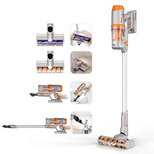 TurboTronic Akku Staubsauger mit EXTREMER Saugkraft: 21kpa = mehr als die meisten Boden-Staubsauger, kabelloser 2 in 1 / Hand Orange