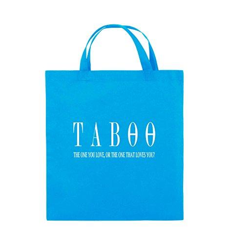 Buste Comedy - Taboo - Logo2 - Borsa In Juta - Manico Corto - 38x42cm - Colore: Nero / Rosa Azzurro / Bianco