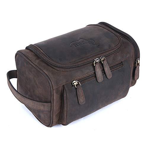 TUSC Portia, Leder kulturtasche kulturbeutel für Herren Damen, Leder Kosmetiktasche Waschtasche Waschbeutel Rasierentasche für die Reise, Leather Toiletry Bag, Größe - 26x13x14cm