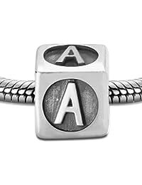 .925 Sterling Silber Buchstaben A-Z + 12 Horoskop Charm für Pandora Armband