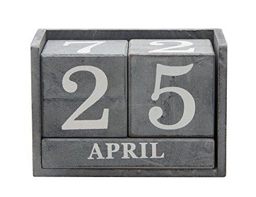 Rivanto Tisch Dauerkalender aus Holz, Shabby-Optik, in grauerUsed-Look