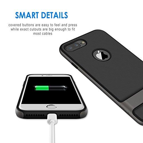 """iPhone 7 Plus Hülle, JETech Schlank Hülle Case Tasche Schutzhülle mit Zwei-Layer-schlanke und Kohlenstoff Faser Entwurf für Apple iPhone 7 Plus 5.5"""" (Grau) Grau"""