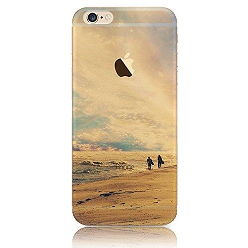 Custodia per iPhone 6/6S,Gray Plaid Design Trasparente Chiaro Creative 3D Case Cover , Ultra-sottile marche popolari TPU Gel Silicone Bumper Protettivo Skin Custodia Per iPhone 6/6S (4.7 inch) - onde tramonto