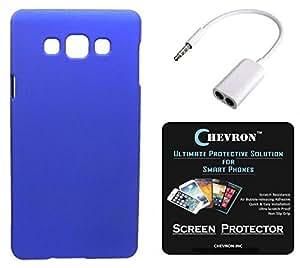Chevron Rubberized Matte Finish Back Cover Case for Samsung Galaxy Grand Max with HD Screen Guard & Audio Splitter (Royal Blue)
