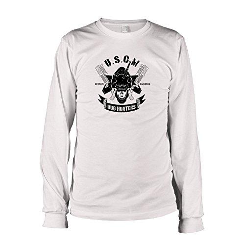 TEXLAB - USCM Bug Hunters - Herren Langarm T-Shirt, Größe XXL, weiß (Predator Hunter Kostüm)