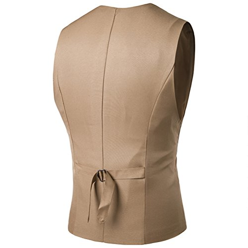 Zhhlinyuan gemütlich Mens Button Down Skinny Dress Vest Waistcoat Outwear Top Designed Khaki