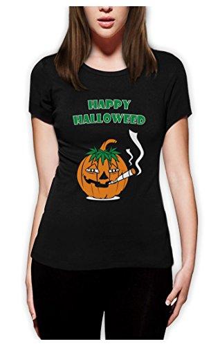 Glückliche Halloweed Frauen Schwarz XX-Large T-Shirt (Stoner Kostüm)
