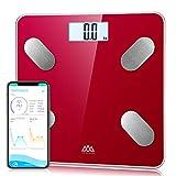 SENSSUN Pèse Personne Impedancemetre,Mesure de Graisse Corporelle Numérique, Balance Pese Personne Connecté Bluetooth,180kg/400lb,Rétroéclairé LED (Rouge Jester)