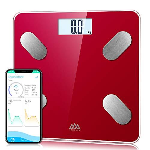 Básculas de baño SENSSUN, analiza la composición corporal, porcentaje de grasa corporal,escala de peso digital precisa,tamaño mini con aplicación para teléfono inteligente(Bufón Rojo)