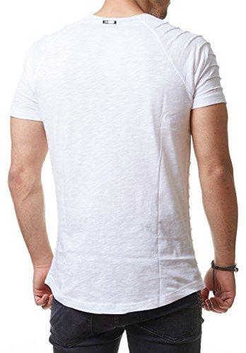 RedBridge Herren T-Shirt Long Oversized Gesteppt Gerippt Schwarz Weiß Bordeaux M1074 Schwarz