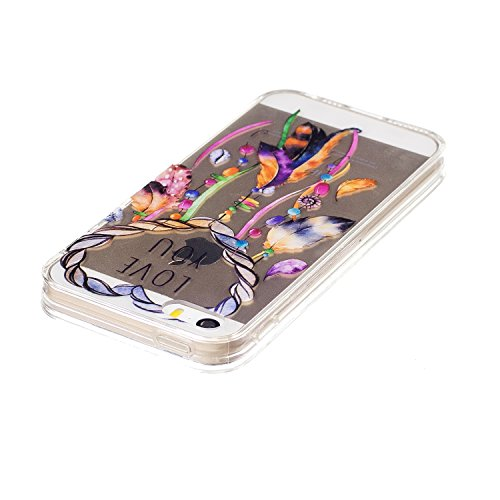 Felfy Schutzhülle iPhone 5S Silikon,iPhone 5S Hülle Transparent Muster,Handyhülle iPhone SE Silikon Ultradünnen Weich TPU Silikon Kreatives Marmor Zitrone Wassermelone Pizza Muster Crystal Klar Schutz Feder Campanula Cas