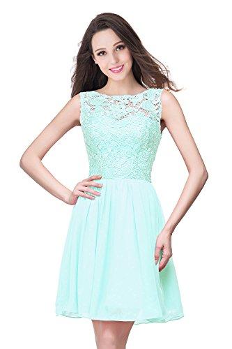 Babyonline- Damen Elegant Ämellos Spitzenkleid in 10 Farben Kurz 32-46  Mintgrün
