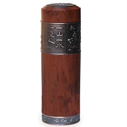 SCZLSYL Tasse en pierre de poisson en bois naturel dépoli simple avec couvercle tasse de verre d'isolation cadeau tasse de thé
