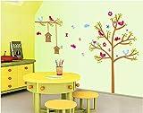 120X170Cm (47X67In) Bunte Baum Dekoration Wandaufkleber Cartoon Schlafzimmer Wandtattoos Niederlassungen Vogelkäfig