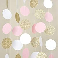 VICOLDER Pink White And Gold Glitter Circle Polka Dots Paper Garland Banner Banner Party Decoration Supplie