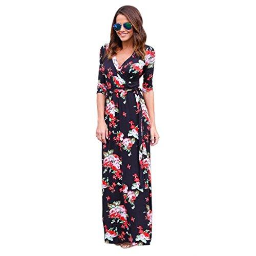 Damen Kleid Bestop Frauen V Hals Boho Lange Maxi 'Nabend Partei Beach Kleid Floral Sommerkleid (S, Schwarz) (Fleece-v-hals-tunika)
