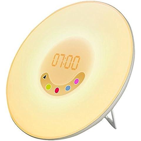 Sveglia Luce Sveglia con Simulazione dell' alba e radio FM suoni, Touch Control, colore bianco