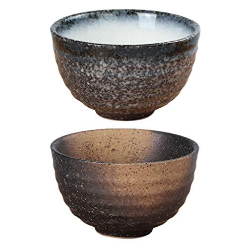 P Prettyia 2 Pezzi Originale Giapponese Matcha Ciotola in Ceramica, per Bere caffè o tè, Mangiare, Servire Zuppe o Dessert,