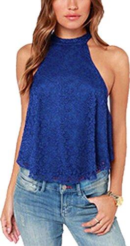 Femmes Blouse sans manches, Transer ® Femmes sexy d'été sans manches chemisier chemise dentelle gilet Loose Tops Bleu