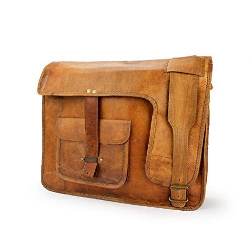 A.P. Donovan - Messenger-Bag aus Leder für Notebook 15 Zoll, Tasche mit Schultergurt für Studenten, Lehrer, Büro, (Beruf / Freizeit) in braun