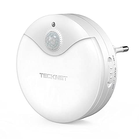 Veilleuse LED Autocollante, TeckNet Eclairage de nuit avec détecteur de mouvement & Détecteur de Lumière, Enfichable, AC 220-240V