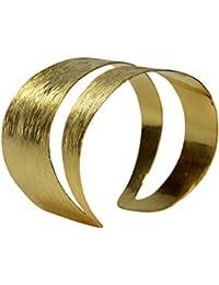 SILBERMOOS extravaganter Damen Armreif Silberarmreif gold-plattiert Armspange strukturiert gestreift mit diagonaler Aussparung massiv glänzend 925 Sterling Silber