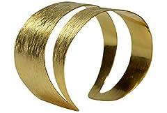 Idea Regalo - Argento muschio un po bracciale da donna argento Bracciale braccialetto rigido-placcati oro grezzo a righe con diagonale alveolo massiccio argento sterling 925lucido