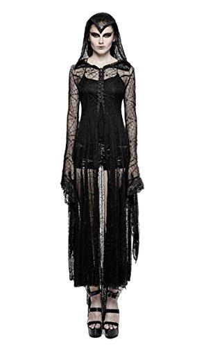 Dark Dreams Gothic Steampunk Hexe Cobweb Spinnennetz Mantel Kleid Cadis Punk Rave Kapuze Vampir Witchy schwarz 36 38 40 42 44 Tarantula Top, Größe:XL/XXL