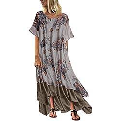 Vestidos de Mujer Casual,Levifun Retro Vestido Tallas Grandes Remiendo de la Vendimia Ocasional Flojo Vestidos Wrap Floral Impreso Vintage Estilo étnico de Beacaxi Vestido Largo Boho más Vestido