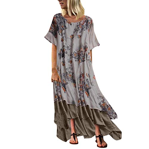 URIBAKY Frauen Große Größen-Sommer-Druck-Patchwork Kleid Damen,Baumwolle und Leinen Kleid-Kurzarm-Oansatz-Weinlese-Maxi Plus Größen-Kleid Plus Size -