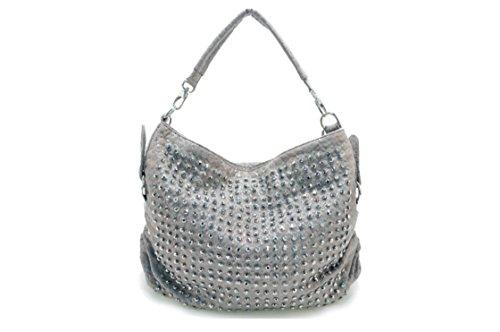 Oath_song ,  Mädchen Damen Hobo Bags , gold - silber - Größe: Medium (Hobo Leder Bag Studded)