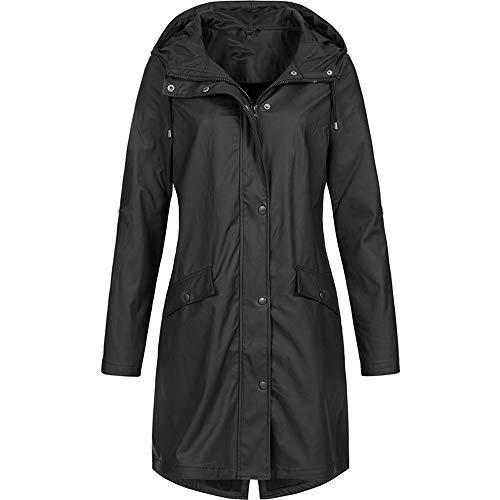 iHENGH Damen Winter Jacke Dicker Warm Bequem Parka Mantel Lässig Reißverschluss Outdoor Plus Wasserdicht mit Kapuze Regenmantel Winddicht(Schwarz-1, 2XL) -