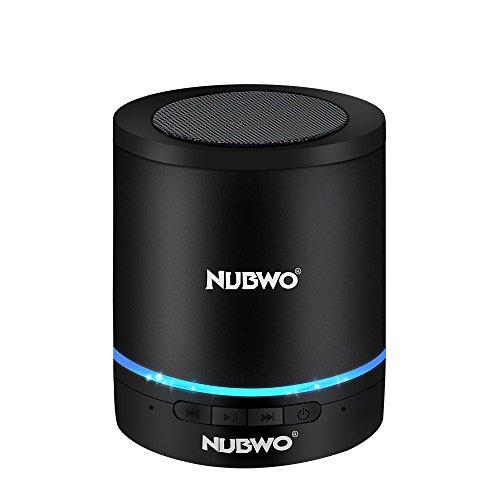 Bluetooth Lautsprecher,NUBWO A3 Kabelloser Tragbare Lautsprecher,Outdoor Mini Wireless Speaker mit Multifunktions-Stereo, Eingebautem Mikrofon,Freisprechanruf,LED-Licht,TF-Kartensteckplatz(Schwarz)
