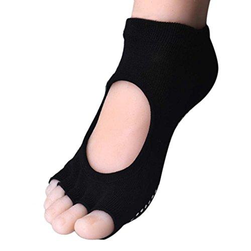 Damen Maedchen Socken Transer® Wärmer Rutsch Baumwolle Socken Open-Toed Rückenfreie Yoga Socken Einheitsgröße (schwarz) (Orange Zehen-socken Gestreifte)