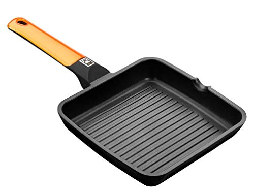 BRA Efficient Orange - Grill asador con Rayas, 28 cm, Aluminio Fundido con Antiadherente Platinum Plus...