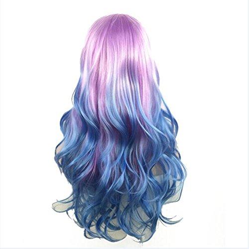 OOARGE Art- und Weisefrauen-Regenbogen-langes lockiges gewelltes Haar volle Cosplay Partei-Perücke , photo