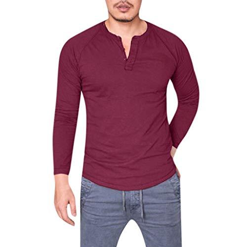 Kostüm Nerd Bilder Girl - DNOQN Langarm Polo Herren Stylische T Shirts Mode Männer Schlank Beiläufig Muskel Solide Lange Ärmel V-Ausschnitt Tops Bluse T-Shirts S