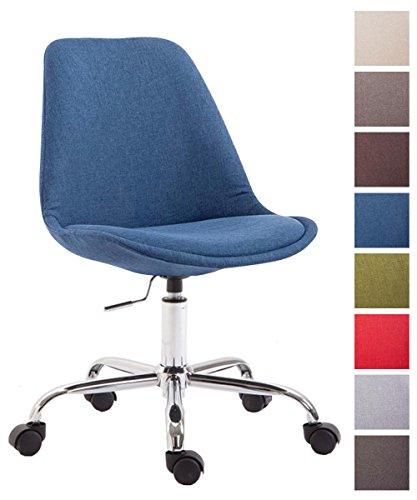 CLP Bürostuhl Toulouse mit Stoffbezug | Schreibtischstuhl mit Laufrollen | Drehstuhl mit Metallgestell in Chrom-Optik | Mit Farbwahl Blau