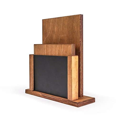 ium Menu Halter und Tafel, Holz, schwarz/Rustikal Braun, 20x 15,9x 5cm ()