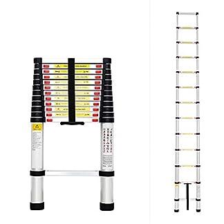Todeco – Escalera Telescópica, Escalera Plegable – Carga máxima: 150 kg – Estándar/Certificación: EN131 – 3,8 Metro(s), EN 131