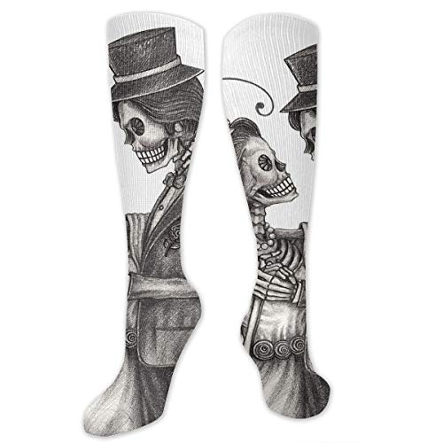 Unisex Highly Elastic Comfortable Knee High Length Tube Socks,Love Valentines Skull Skeleton Marriage Eternal Spanish Festive Art,Compression Socks Boost Stamina,TwinTwin XL (Socks Hunter Xl Kids Boot)