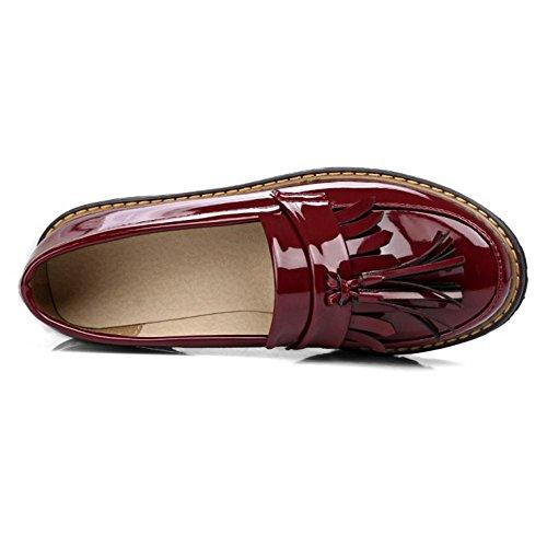 TAOFFEN Femme Classique Talon Moyen Bloc A Enfiler Escarpins Bas Fille Ecole Chaussures Rouge