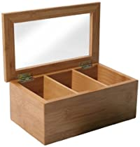 Natural Living Bamboo 3 Compartment Tea Box with Clear Lid