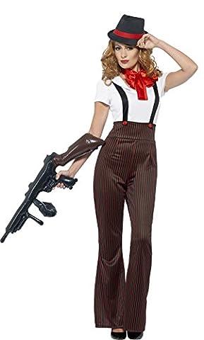 Smiffy's 24635S - Fever Damen Glam Gangster Kostüm, Größe: 36-38, schwarz/rot (Smiffys Fever Kostüme)